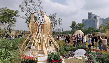 25个竹构花园在成都桂溪生态公园面向公众开放展览