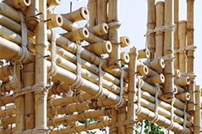 竹梁柱连接形式四 捆绑连接