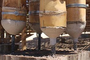 竹柱连接形式二-钢构件连接