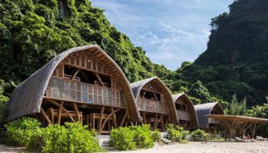 越南:兰哈湾竹独家酒店 竹建筑
