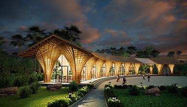 印尼:特色竹餐厅 竹景观