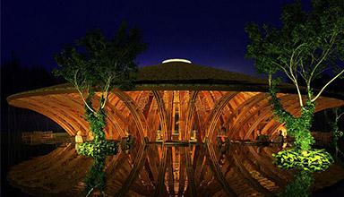 柬埔寨西哈努克:南洋风格酒店 竹建筑