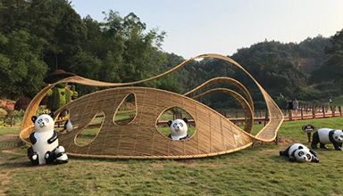 四川宜宾:菊花展七座竹艺雕塑 特色竹编景观